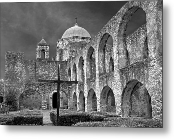Metal Print featuring the photograph Mission San Jose Arches Bw by Jemmy Archer
