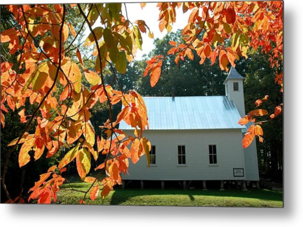Missionary Baptist Church Autumn Afternoon Metal Print by John Saunders