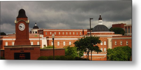 Mississippi College Clock Metal Print by Donnell Carr