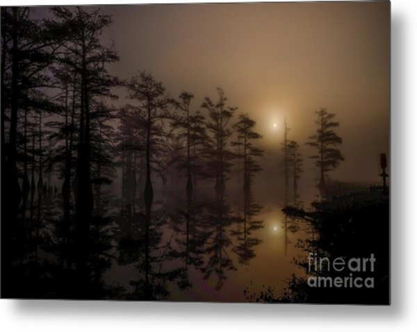 Mississippi Foggy Delta Swamp At Sunrise Metal Print