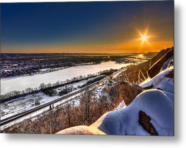 Mississippi River Sunrise Metal Print
