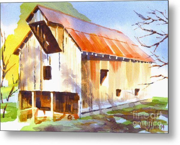 Missouri Barn In Watercolor Metal Print