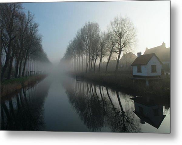 Mist Across The Canal Metal Print
