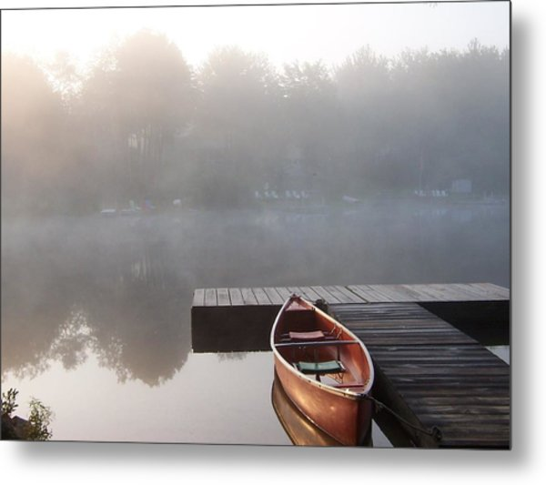 Mist Floating Over The Lake Metal Print