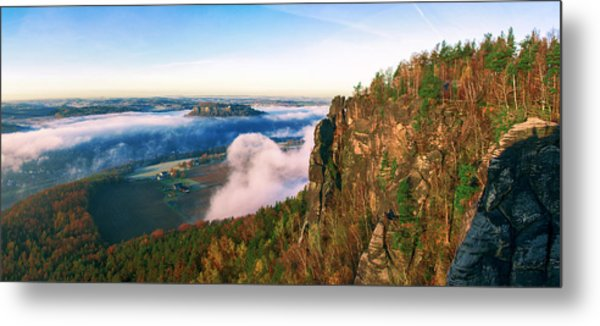 Mist Flow Around The Fortress Koenigstein Metal Print