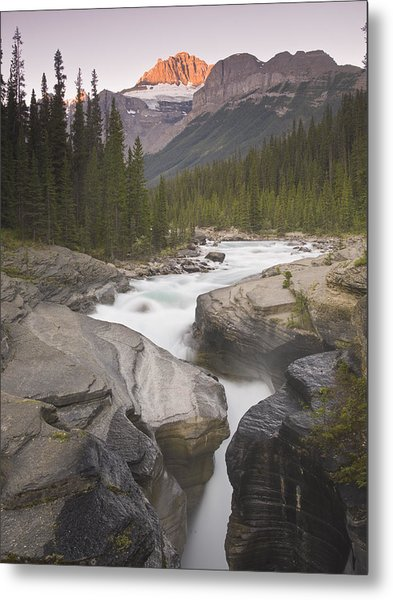 Mistaya Canyon And Mount Sarbach Metal Print