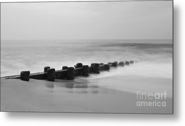 Misty Beach Morning Metal Print