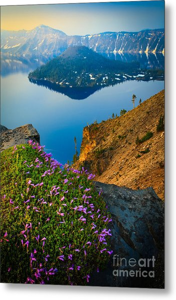 Misty Crater Lake Metal Print