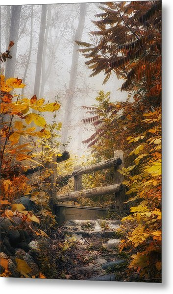 Misty Footbridge Metal Print