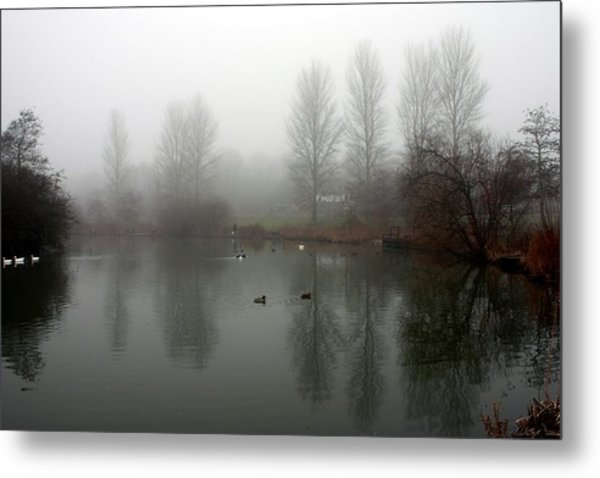 Misty Lake Reflections Metal Print