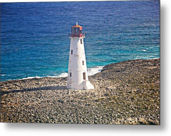 Misty Morning At Hog Island Lighthouse On Paradise Island Baham Metal Print