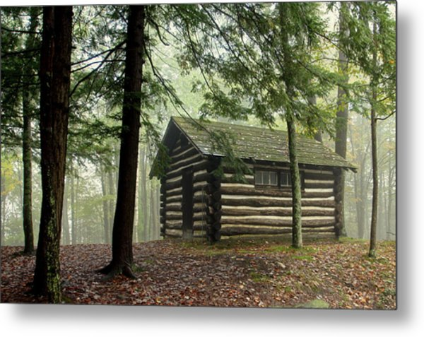 Misty Morning Cabin Metal Print