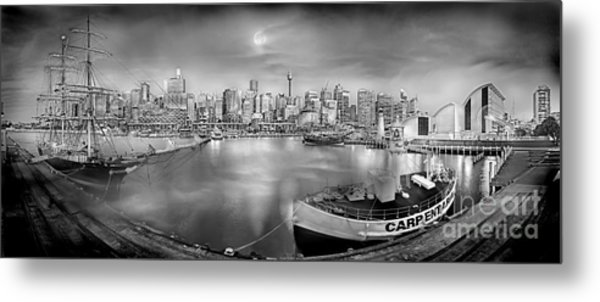 Misty Morning Harbour - Bw Metal Print