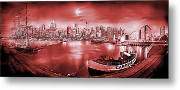 Misty Morning Harbour - Red Metal Print