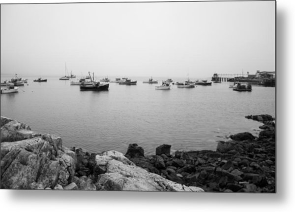 Misty Morning Harbour Views Metal Print