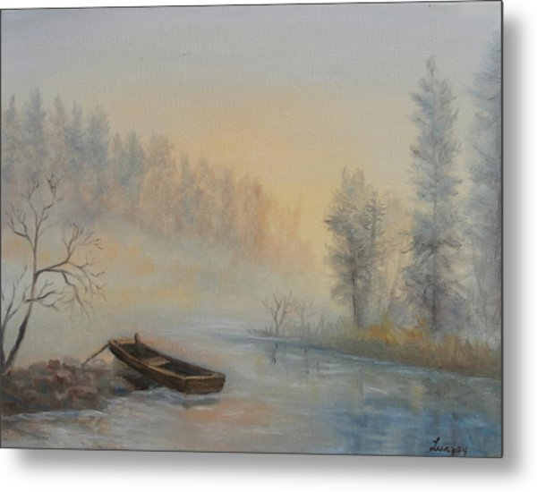 Metal Print featuring the painting Misty Morning by Katalin Luczay