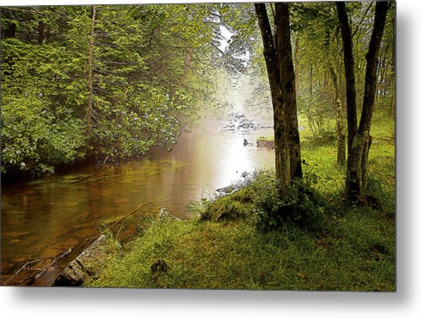 Misty Morning On A Mountain Stream Digital Art Metal Print