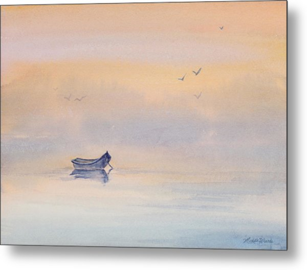Misty Morning Peace Watercolor Painting Metal Print