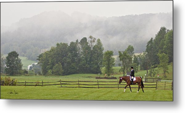 Misty Morning Ride Metal Print