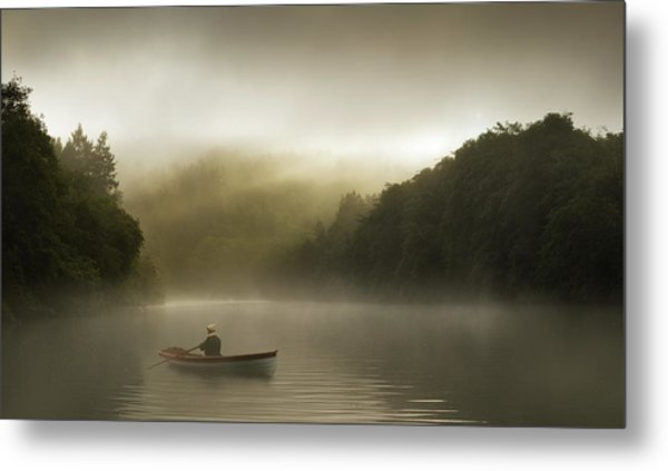 Misty Morning Row On A Forested River Metal Print by Justin Lewis