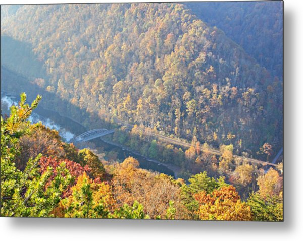 Misty Morning View Of The New River Gorge Old County Road 82 Bri Metal Print