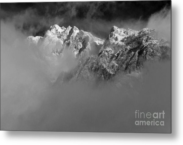 Misty Mountains In Mono Metal Print