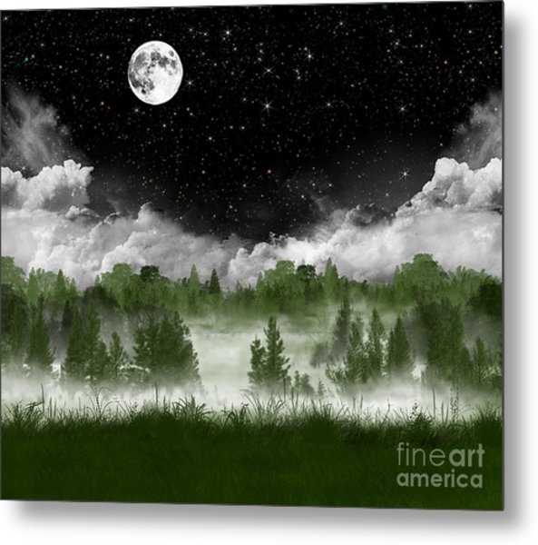 Misty Pines Metal Print