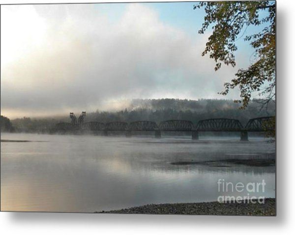 Misty Railway Bridge Metal Print
