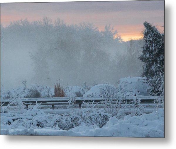 Misty Snow Morning Metal Print