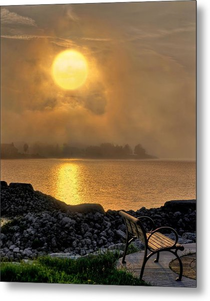 Misty Sunset At The Bay Metal Print