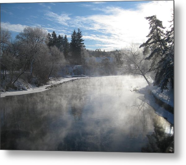 Misty Winter River Metal Print by Carolyn Reinhart