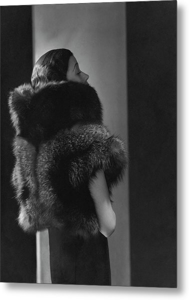 Mlle. Koopman Wearing A Fur Jacket Metal Print
