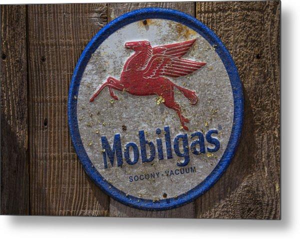 Mobil Gas Sign Metal Print