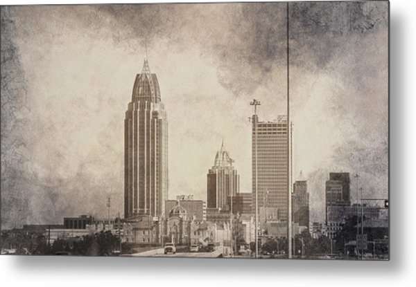 Mobile Alabama Black And White Metal Print
