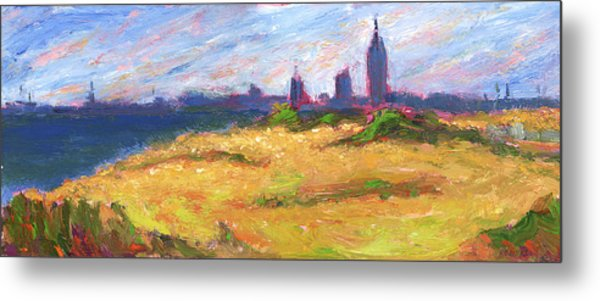 Mobile Skyline From Felixs Windy Day Metal Print