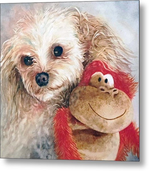 Mocha And Monkey Metal Print