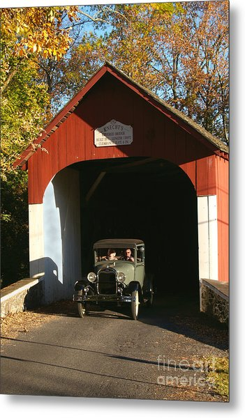 Model A Ford At Knecht's Bridge Metal Print
