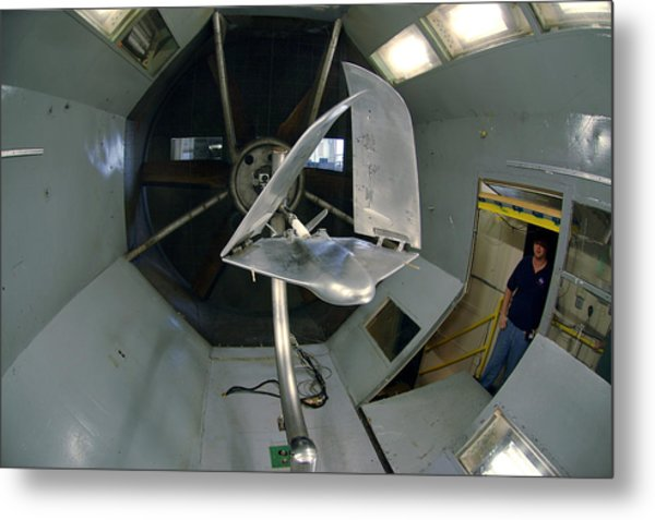 Model Airplane In Wind Tunnel Metal Print