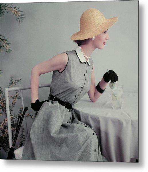 Model In A Gingham Dress Metal Print