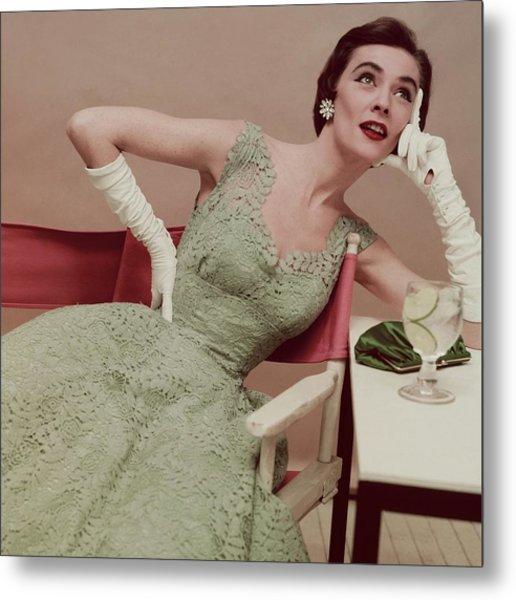 Model In A Green Lace Dress Metal Print