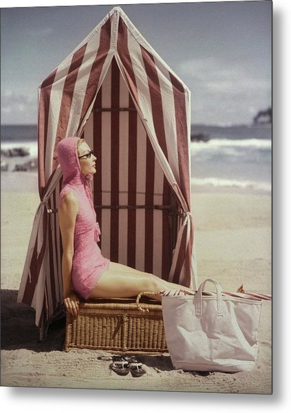 Model In Pink Swimsuit With Tent On Beach Metal Print by Louise Dahl-Wolfe