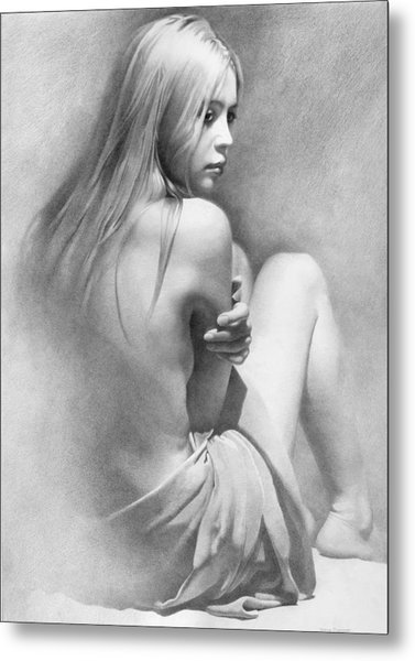 Metal Print featuring the drawing Model Vi  by Denis Chernov