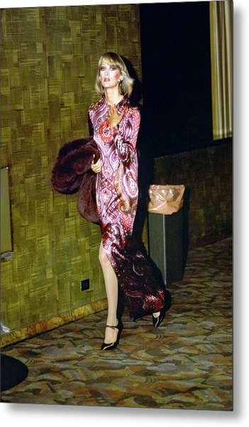 Model Wearing A Paisley Gown Metal Print