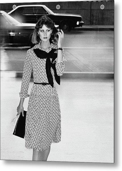 Model Wearing A Patterned Dress Metal Print