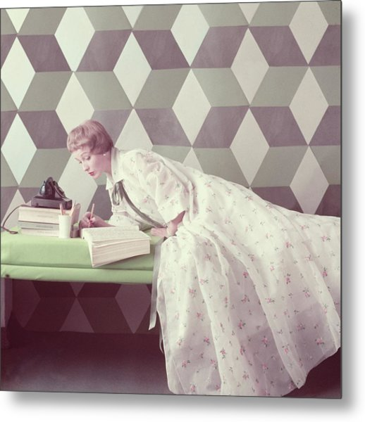 Model Wearing A Perfect Dressing Gown Metal Print by Richard Rutledge