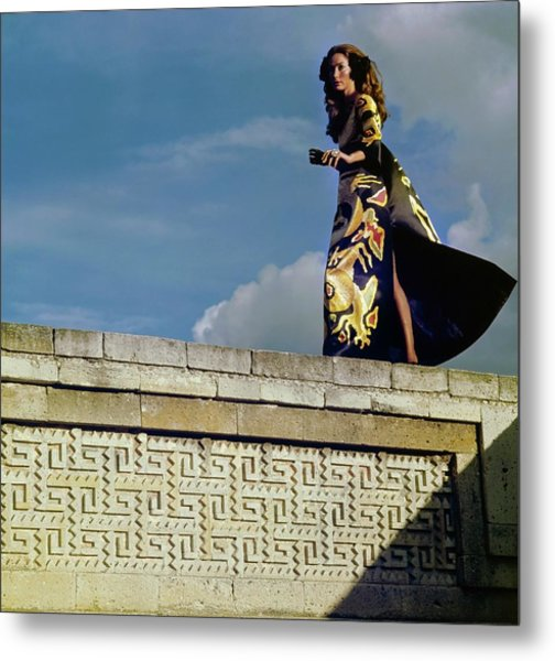 Model Wearing A Valentino Dress Metal Print by Henry Clarke
