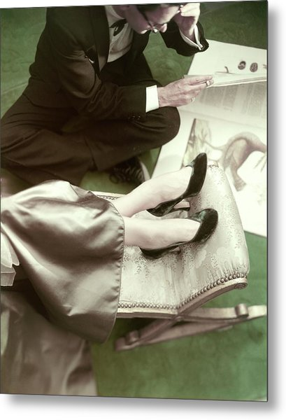 Model Wearing Velvet Pumps With A Man Sitting Metal Print by Frances McLaughlin-Gill