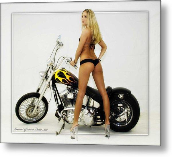 Models And Motorcycles_j Metal Print