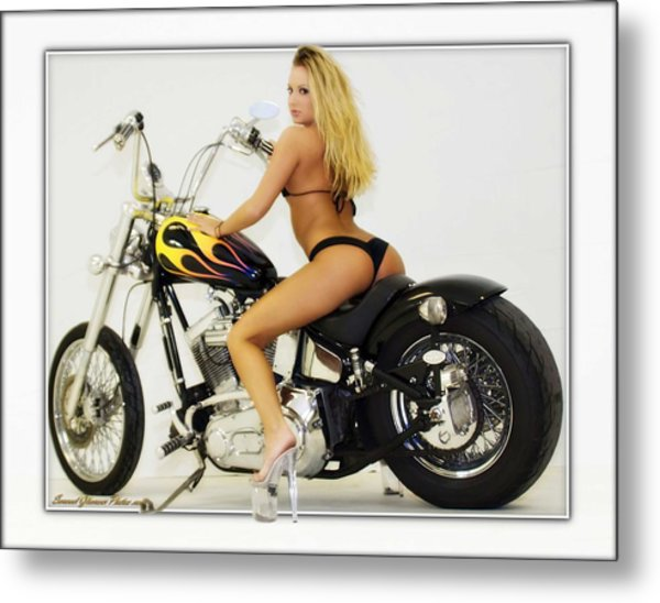 Models And Motorcycles_k Metal Print