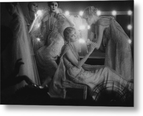 Models In A Dressing Room Metal Print